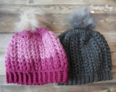 Pretty Puff Crochet Beanie Pom Pom Hat Adult size PDF Pattern Instant Download gift present