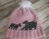 Mama bear baby bear hat pom beanie adult pink gray sparkle gift present handmade MI designer