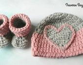 Newborn Darla Baby Heart Hat Beanie Bootie Pattern Set Easy PDF Instant Download Gift Present Baby Shower