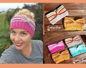 Crochet stripe headband texture knotted adult size gift present handmade MI designer