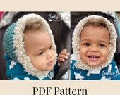 Crochet stay on faux fur baby bonnet pattern PDF instant download present gift craft shows MI designer