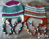 Crochet adult braided earflap fireside beanie hat PDF Pattern Instant Download gift present