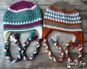 Crochet adult braided earflap fireside beanie hat PDF Pattern Instant Download gift present