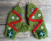 Crochet Christmas Tree mittens toddler adult PDF Instant Download gift present