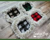 Crochet plaid coaster pattern faux fur PDF instant download present gift craft shows MI designer
