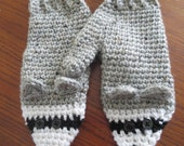 Crochet Adult Raccoon critter mitten pattern PDF Instant Download gray black white animal