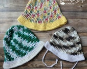 Easy simple crochet sun hat pattern 7 sizes baby toddler child adult sizes PDF instant download present gift craft shows MI designer
