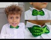 Crochet St. Patrick's Day bow tie pattern PDF instant download child adult accessory warmer MI designer
