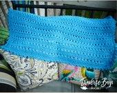 Crochet baby pom blanket pattern PDF instant download present gift baby shower warmer MI designer