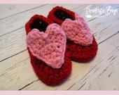 Crochet heart baby booties pattern PDF instant download present gift craft shows MI designer
