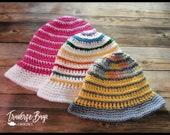 Crochet sun hat pattern striped baby-adult sizes PDF instant download present gift MI designer