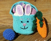 Crochet Easter egg basket pattern eggs carrot PDF instant download present MI designer