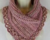 Crochet pink lacey scarf neck warmer MI designer