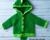 Dinosaur baby crochet cardigan sweater pattern 0-3m, 3-6m, 6-9m, 9-12m PDF instant download present gift baby gift shower MI designer