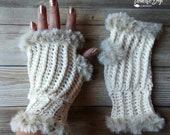 Crochet Elegant Faux Fur fingerless mitten pattern PDF instant download present gift craft shows MI designer