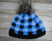 Newborn plaid baby hat pom beanie blue black gift present handmade MI designer