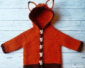 Fox baby crochet cardigan sweater pattern 0-3m, 3-6m, 6-9m, 9-12m PDF instant download present gift craft show baby gift shower MI designer
