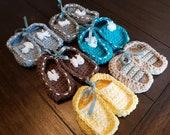 Crochet baby bootie lot 6 pairs newborn loafers gift present handmade MI designer