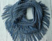 Crochet fringe infinity scarf pattern PDF Instant download Simple Easy Beginner