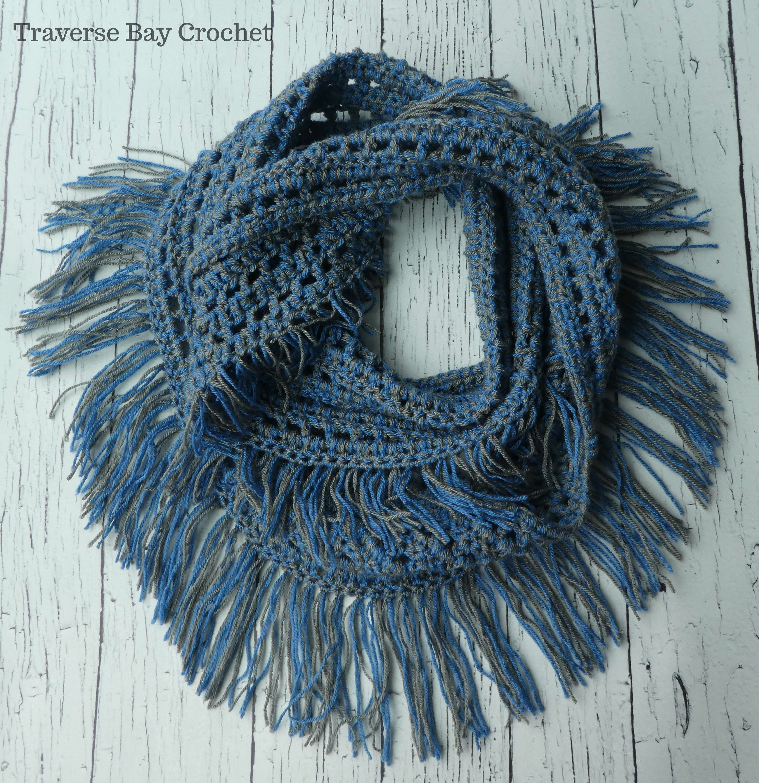 Crochet Fringe Infinity Scarf Pattern Pdf Instant Download Etsy