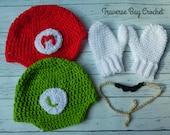 Crochet Mario and Luigi hat mustache mitten costume child PDF Pattern Instant Download gift present