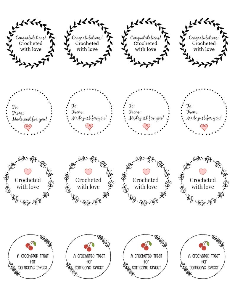 graphic relating to Printable Gift Labels called Printable reward tag labels craft crochet knitting sewing craft displays PDF Instantaneous obtain