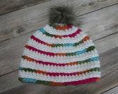 Baby striped beanie hat gift present handmade MI designer