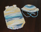 Newborn jumper romper hat set girl boy gift present handmade MI designer