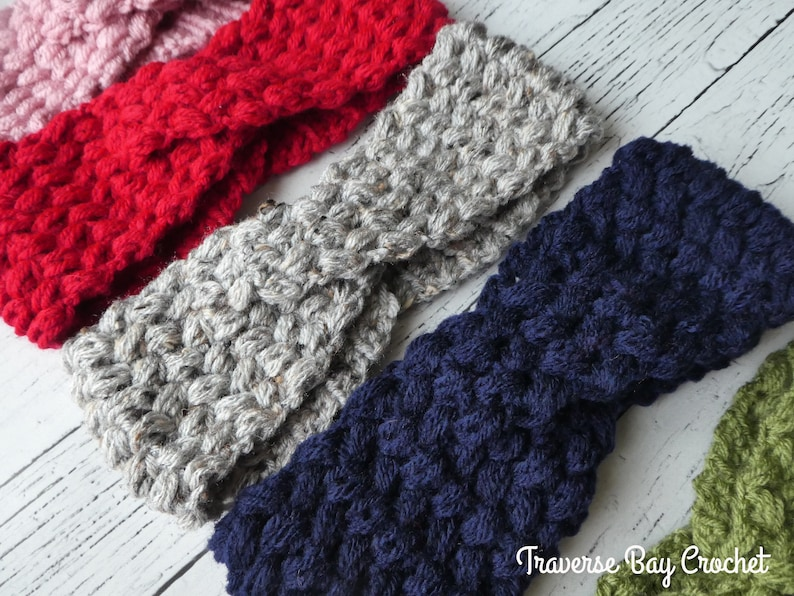 Crochet Twisted Bean Headband Adult Pattern Pdf Instant Etsy