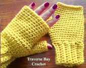Adult Crochet Fingerless simple easy beginner Glove Pattern PDF Instant Download present gift