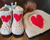 Crochet newborn baby hat bootie set red heart gift present handmade MI designer