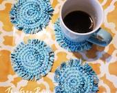 Crochet boho fringe coasters PDF Instant download pattern