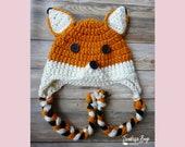 Crochet woodland fox hat braided earflap pattern baby toddler child adult PDF instant download present gift craft shows MI designer
