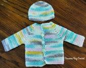 Sweet pea baby crochet cardigan sweater hat pattern 0-3m newborn PDF instant download present gift craft show baby gift shower MI designer
