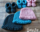 Crochet baby hat and bootie set braided earflap beanie PDF Pattern Instant Download gift present