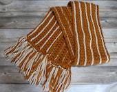 Stripe scarf orange ivory long gift present handmade MI designer