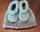 3-6M baby hat beanie bootie set gift present handmade MI designer