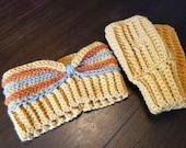 Crochet fingerless mittens headband set adult size gift present handmade MI designer yellow