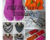 Crochet Fall pattern bundle slipper fingerless mitten pumpkin hat headband neck warmer scarf pattern craft shows