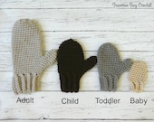 Crochet baby toddler child adult family mitten PDF Pattern Instant Download gift present