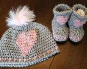 Crochet newborn baby hat bootie set gray pink heart gift present handmade MI designer