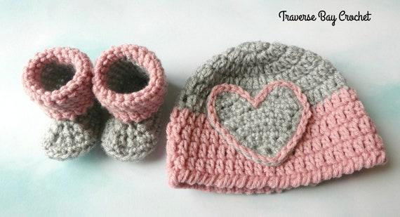 Newborn Darla Baby Heart Hat Beanie Bootie Pattern Set Easy  75a9f153422b