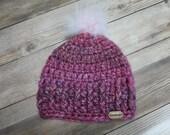 Baby pink pom beanie hat girl gift present handmade MI designer