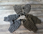 18 colors! Crochet hedgehog mittens toddler child adult textured gift present