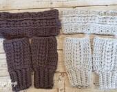 19 colors! Crochet adult braided fingerless mittens headband set gift present MI designer
