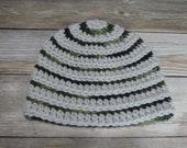 Baby striped beanie camo hat 6-12 M gift present handmade MI designer