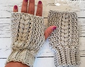 Crochet fingerless mitten pattern braided cable adult size PDF instant download present gift craft shows MI designer