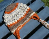 Crochet toddler braided earflap beanie PDF Pattern Instant Download gift present