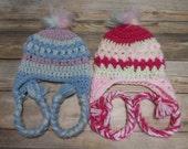 Newborn baby hat earflap pom beanie girl pink blue gift present handmade MI designer