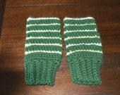 Crochet fingerless mittens stripe adult size gift present handmade MI designer green white